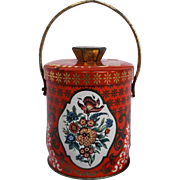 English Toffee Biscuit Tin Orange Gold Floral Small