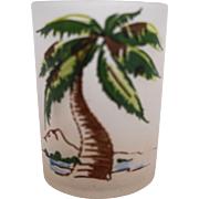 Hazel Atlas Gay Fad Palm Tree Juice Glass Tumbler