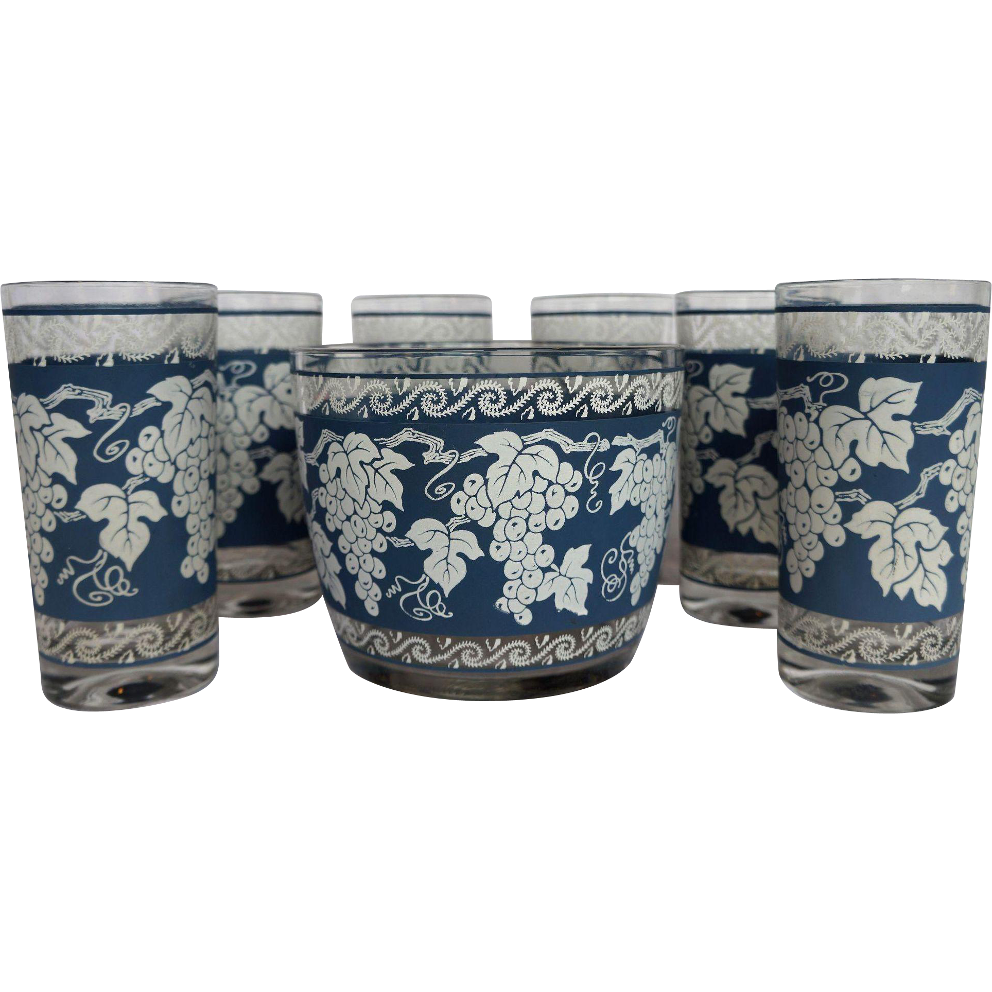 Hazel Atlas Blue White Grape Design Ice Bucket Six Tumblers Set