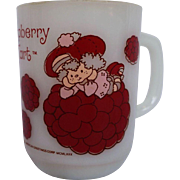 Raspberry Tart Milk Glass Mug Anchor Hocking Strawberry Shortcake
