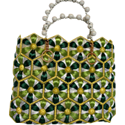 Raffia Straw Woven Flower Daisy Handbag Green Yellow White Bead Handle