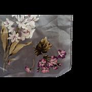Echo Gray Oblong Scarf Pink Purple White Flowers 52 IN