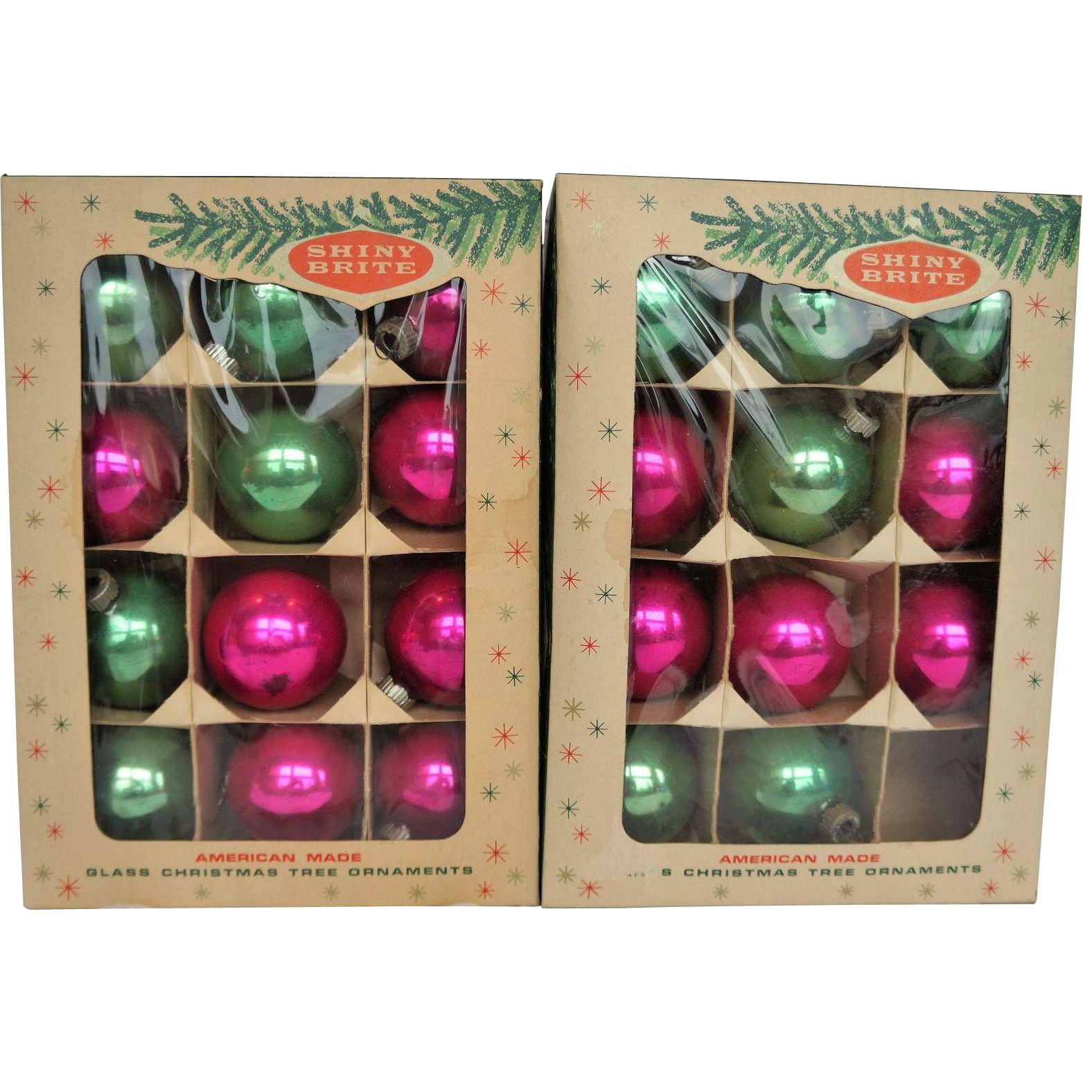 Shiny Brite 2 Boxes 23 Pink Green Mixed Christmas Ornaments 2 IN Balls
