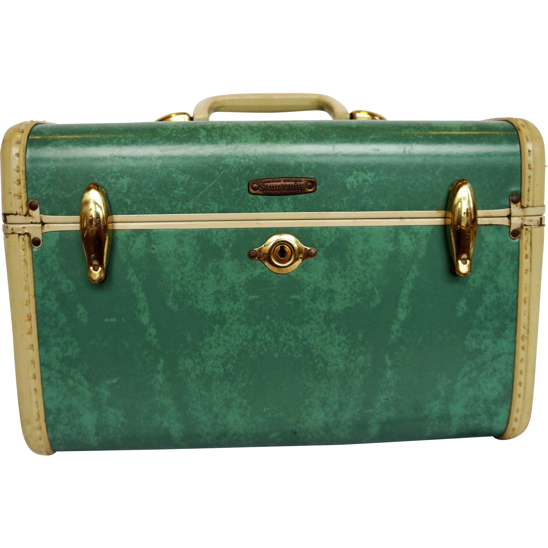 Turquoise Marbled Train Case Shwayder Bros Samsonite VIntage 1940s-50s