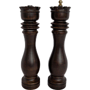 Japan Carved Wood Chess King Queen Shaped 10 IN Pepper Mill Salt Shaker Set
