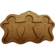 Gingerbread Men Woman Stoneware Brown Bag Cookie Art Mold 1995