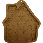 Gingerbread House Stoneware Brown Bag Cookie Art Mold