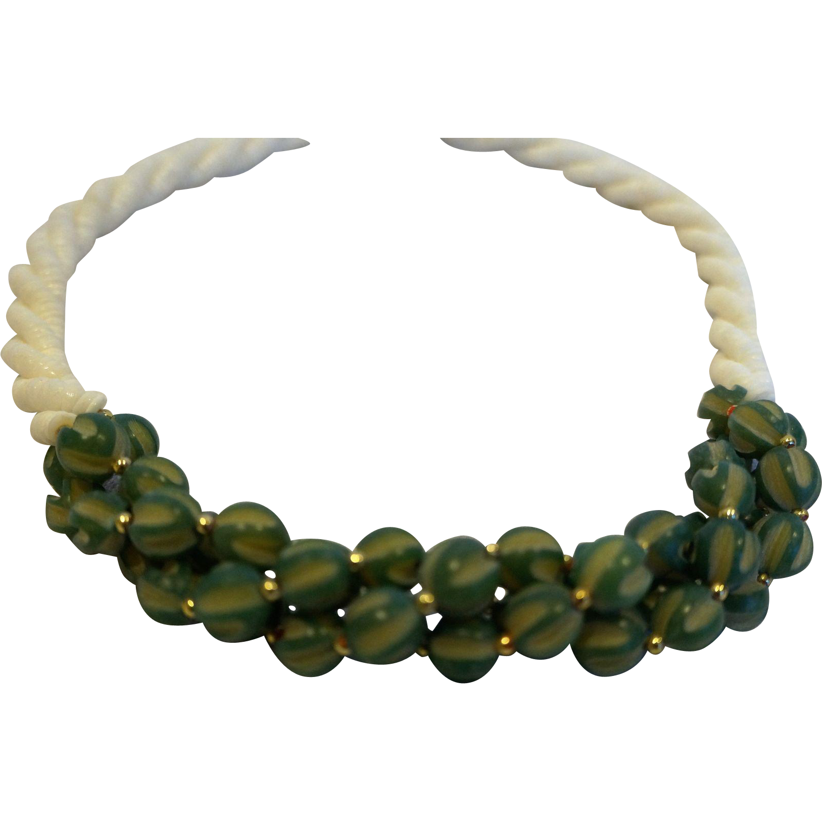 White Heishi Beads Twisted Torsade Green Carved Plastic Beads