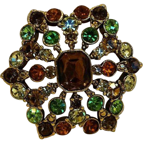 Liz Claiborne Rhinestone Pin Brooch Autumn Fall Colors Amber Green Brown