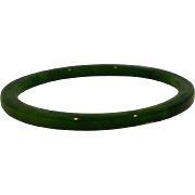 Spinach Green Bakelite Marbled Spacer Bangle Bracelet