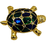 Turtle Tortoise Pin Blue Green Enamel Clear Rhinestone