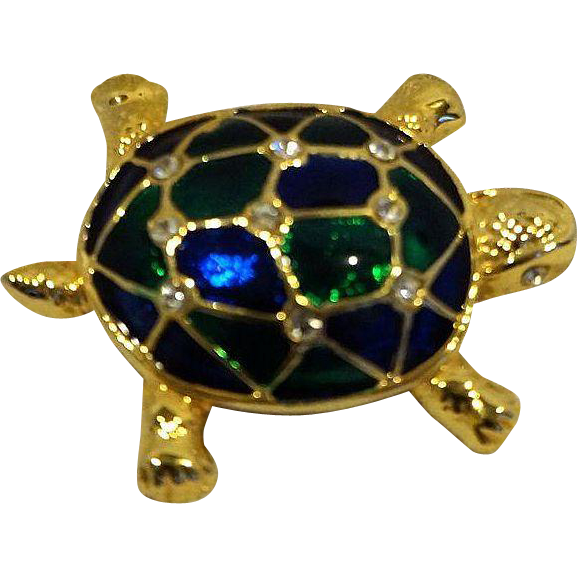 Turtle Tortoise Pin Blue Green Enamel Clear Rhinestone
