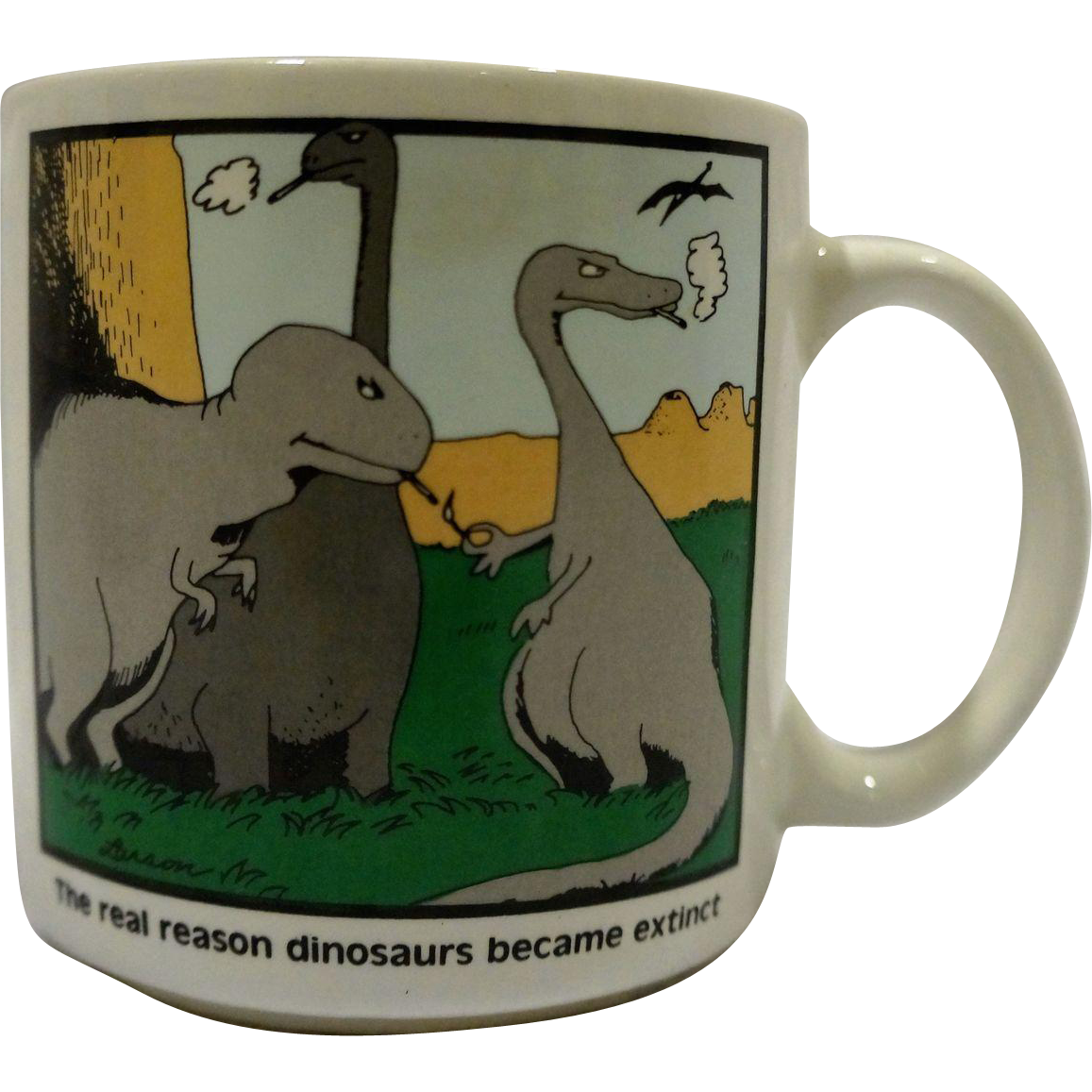 The Far Side The Real Reason Dinosaurs Became Extinct Mug Gary Larson