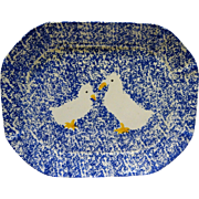 Japan Spongeware Blue White Goose Duck Platter