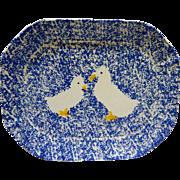 Japan Spongeware Blue White Goose Duck Platter