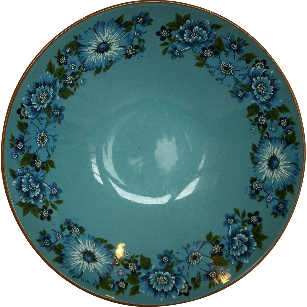 Taylor Smith Taylor Azura Blue Floral Serving Round Vegetable Bowl