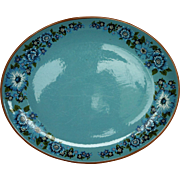 Taylor Smith Taylor Azura Oval Platter 13 IN Blue Floral
