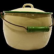 Cream Green Trim Enamel Graniteware Pail Bucket Lid Wood Handle