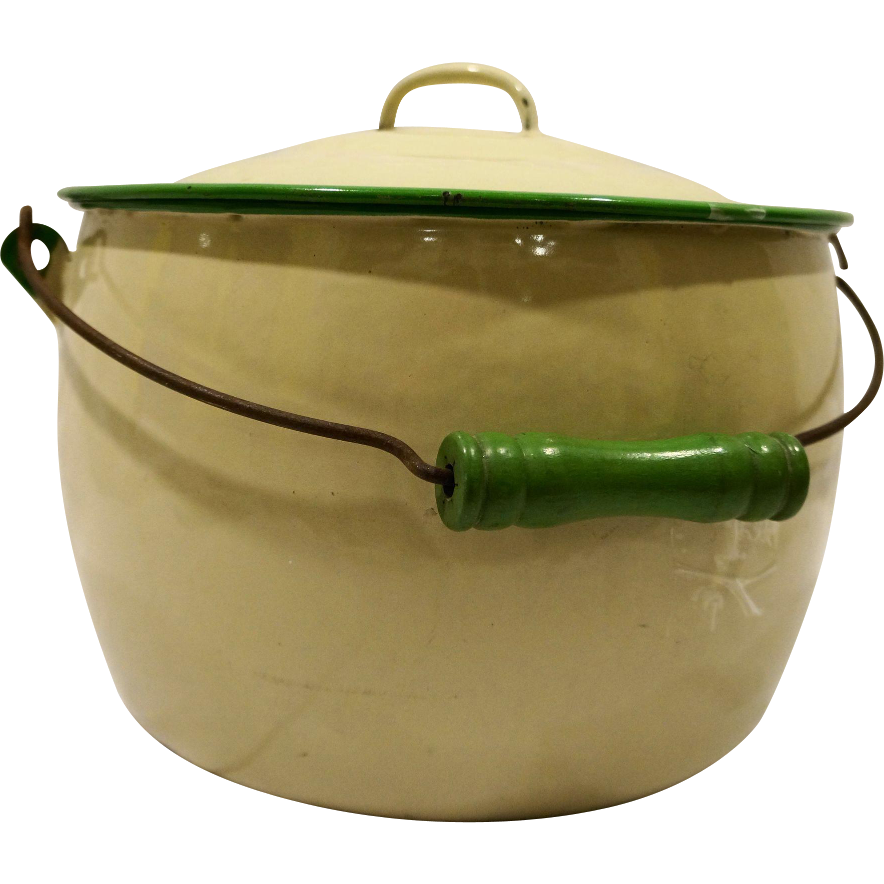 Cream Green Trim Enamel Graniteware Pail Bucket Lid Wood Handle