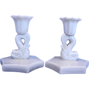 Westmoreland Dolphin White Milk Glass Candlesticks Pair 4 IN