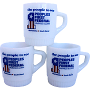 Fire King Milk Glass Ribbed Base Advertising Mugs Set of 3 Peoples First Federal Savings Loan Mishawaka South Bend