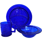 Tiara Exclusives Nursery Rhyme 3 Piece Child Set Cobalt Blue Glass Plate Bowl Mug
