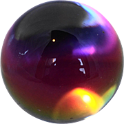 Iridescent Clear Glass Ball Orb Paperweight - Red Tag Sale Item