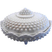 Fenton White Milk Glass Hobnail Oval Candy Dish With Lid 3786