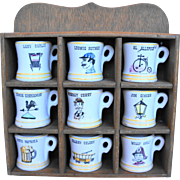 Occupational Mug Character Pottery Spice Jars Wooden Rack Set Menschik Goldman Japan