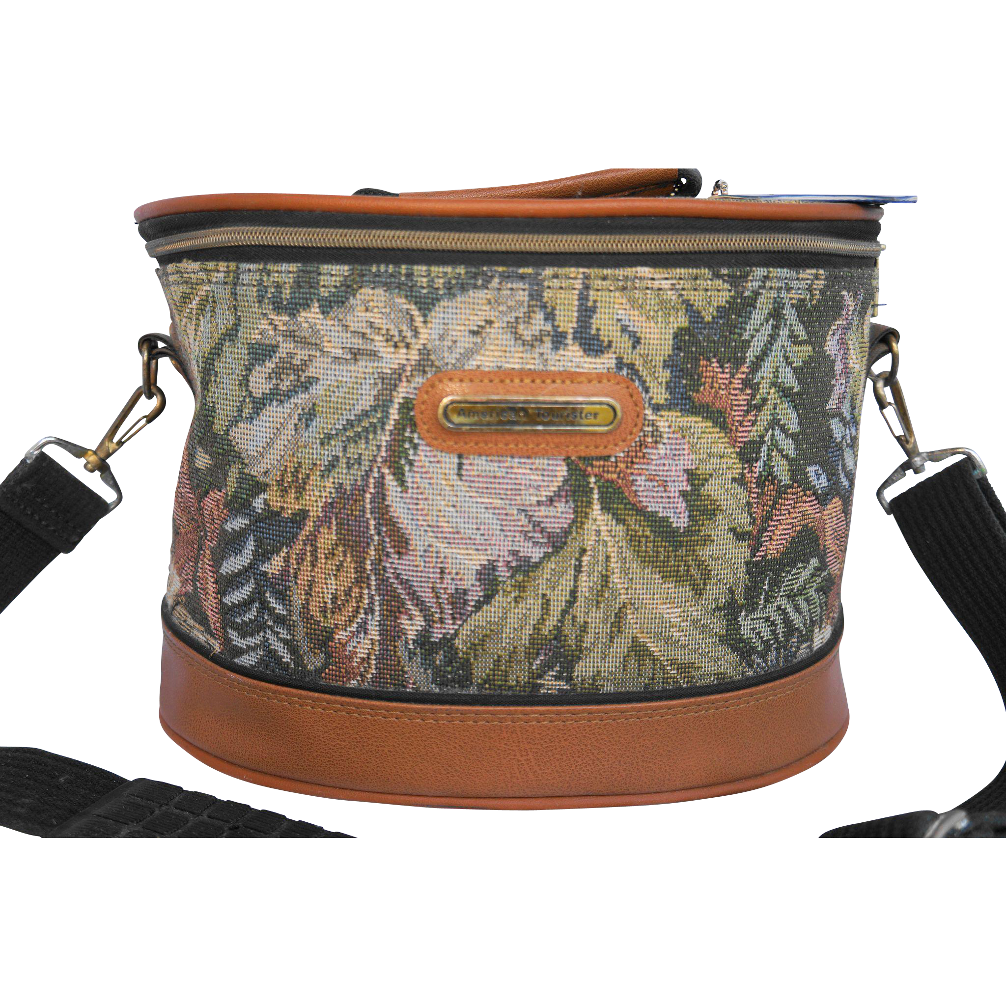 American Tourister Tapestry Oval Travel Train Case Makeup Bag Carry On Muted Fall Colors Green Brown