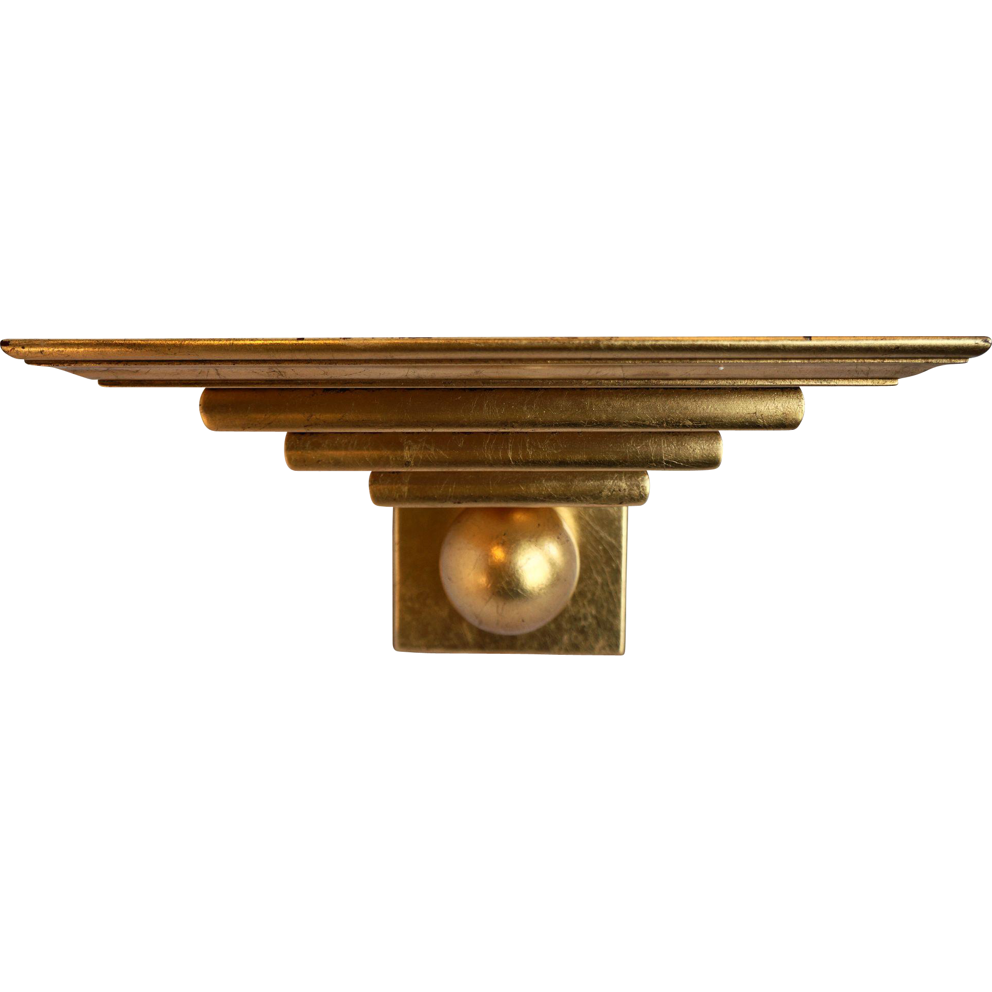 Gold Leaf Gilded Sconce Wall Shelf Art Deco Ball Tiered