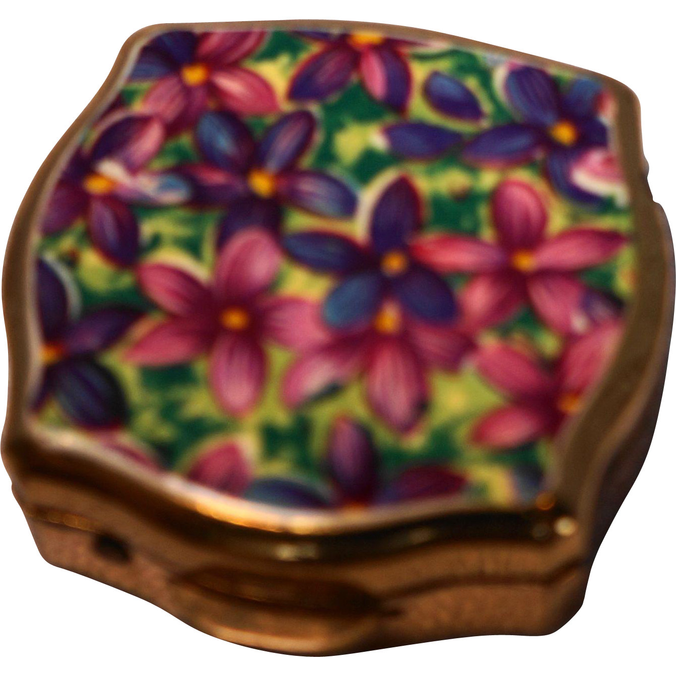 Stratton Made in England Purple Pink Floral Enamel Pill Box