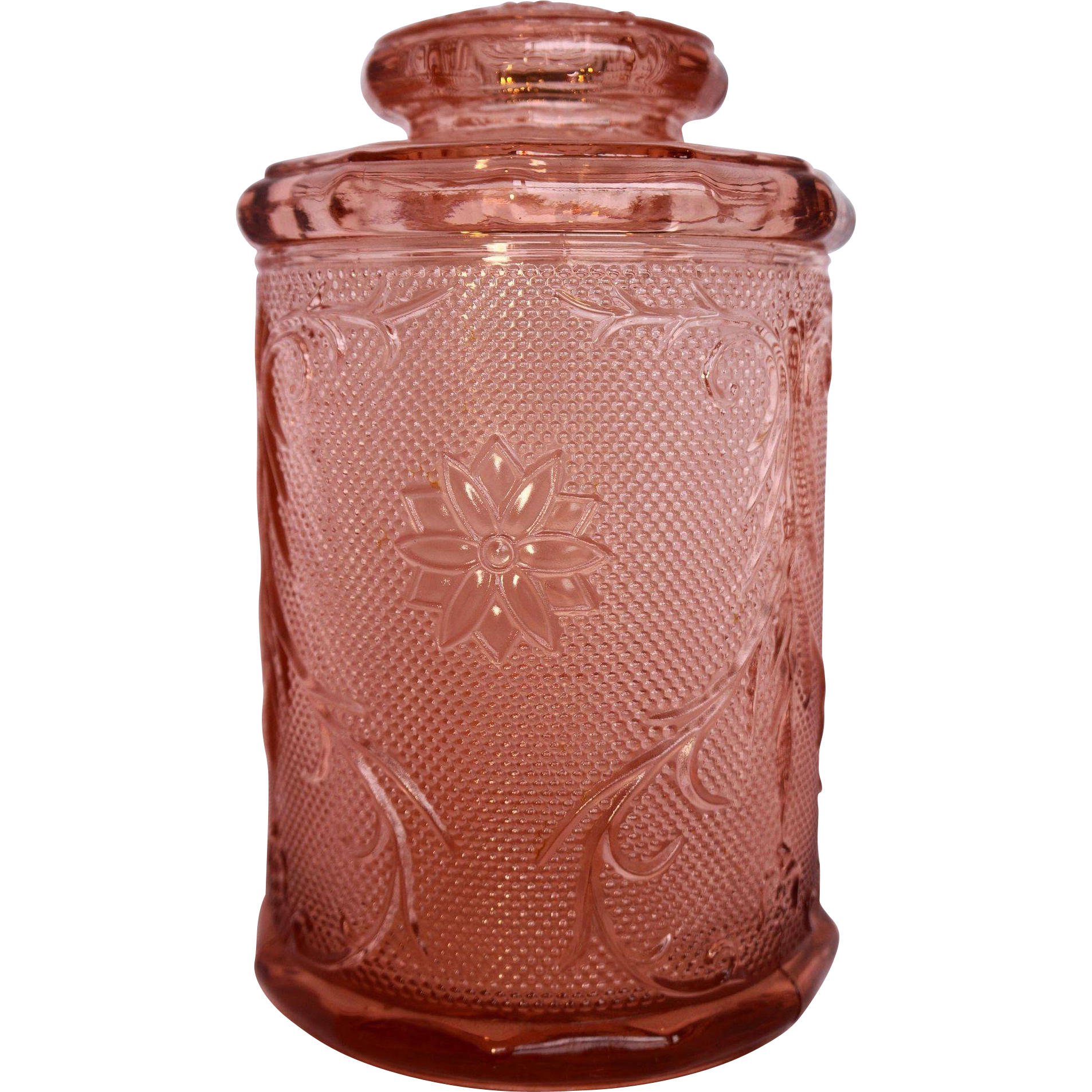 Tiara Exclusives Pink Peach Sandwich Glass Canister Large 9 IN