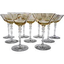 Fostoria Topaz Yellow Optic 5099 Champagne Tall Sherbets Set of 9 - Red Tag Sale Item