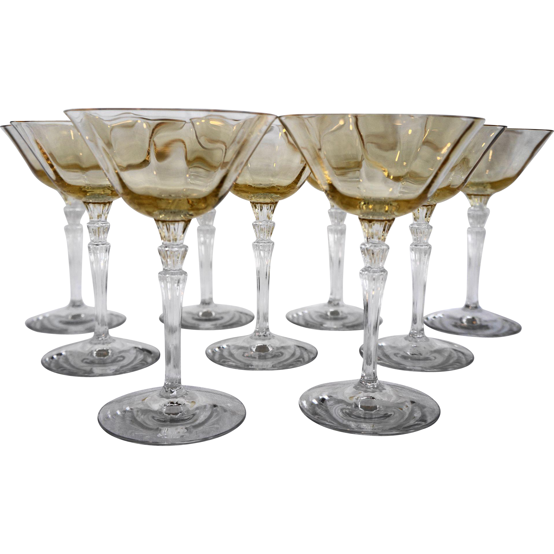 Fostoria Topaz Yellow Optic 5099 Champagne Tall Sherbets Set of 9