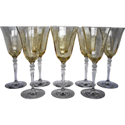 Fostoria Topaz Yellow Optic 5099 Water Goblets Set of 8