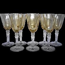 Fostoria Topaz Yellow Optic 5099 Water Goblets Set of 8