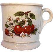 D E McNicol China Clarksburg Shaving Mug Pottery Cherries Decal