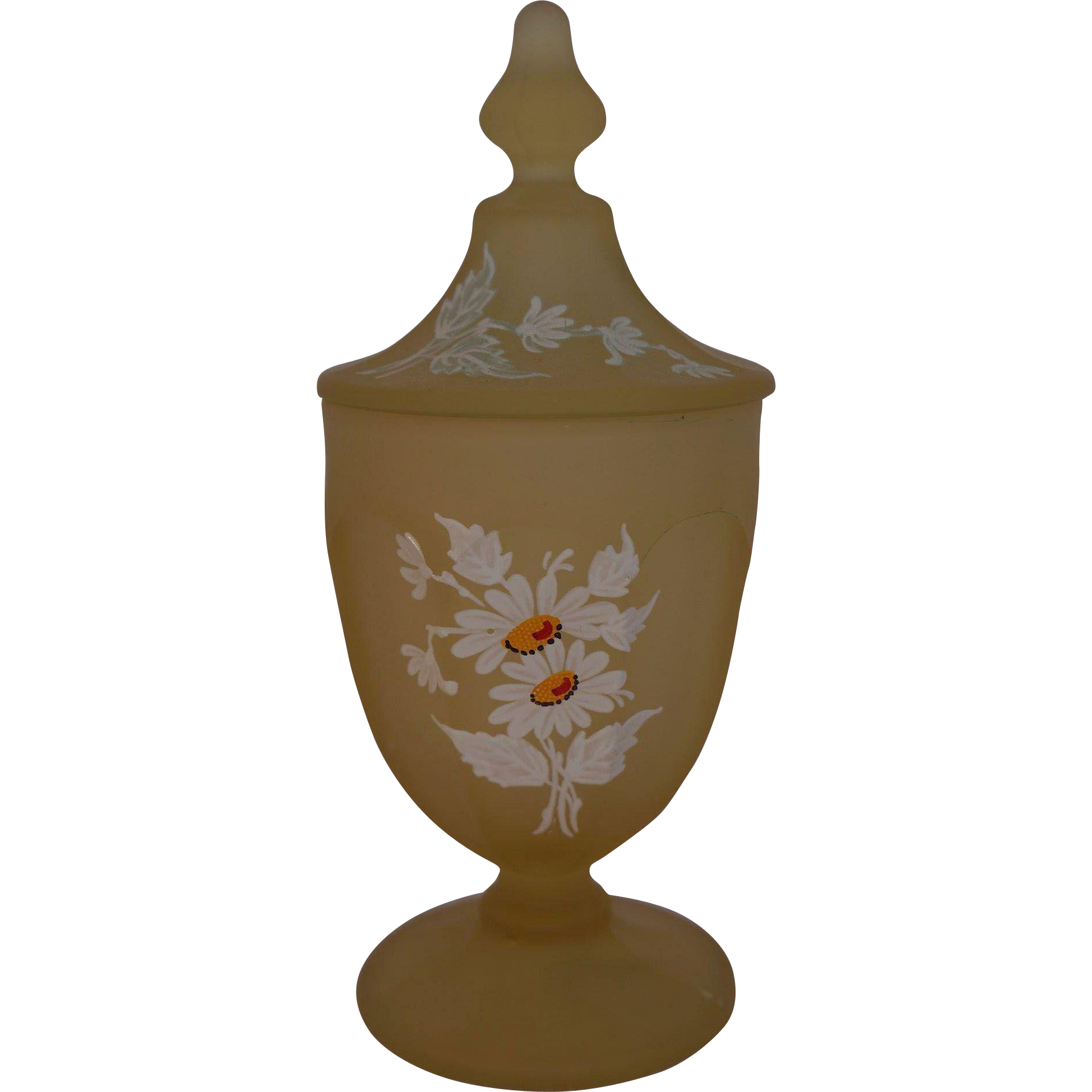 Westmoreland Yellow Mist Daisy Decal Covered Compote Satin Glass