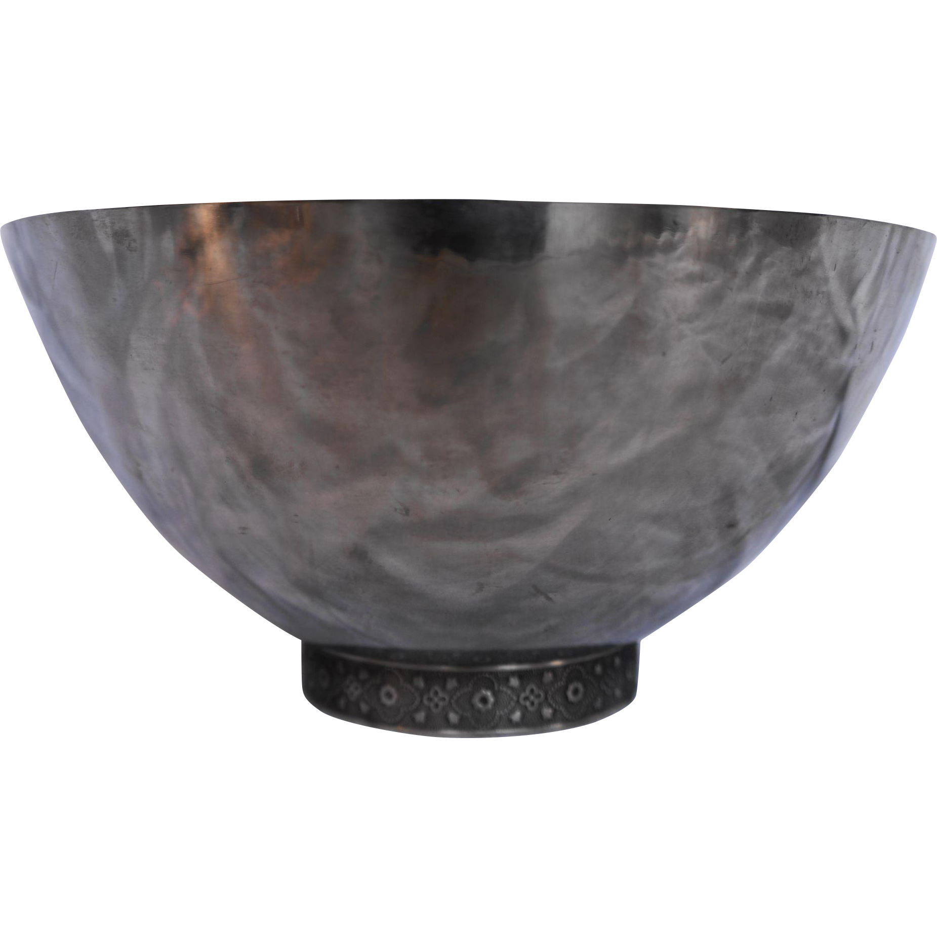 Stainless Steel Japan MidCentury Modern Serving Bowl Floral Band