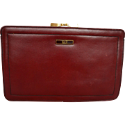 Etienne Aigner Oxblood Leather Large Clutch Rectangle