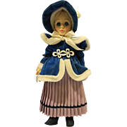 Effanbee Currier Ives Girl Skater 11 IN Doll 1979 Blue Velvet Coat