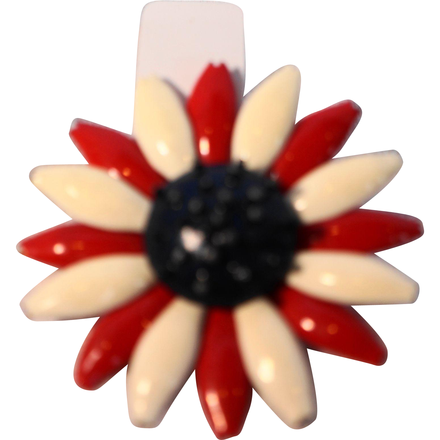 Red White Blue Enamel Flower Power Patriotic Pin Brooch
