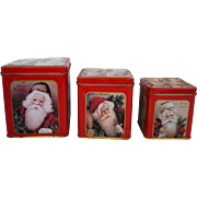 Santa Claus Saint Nicholas Christmas Nesting Canister Set of 3 Tins