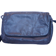 Stone Mountain Navy Blue Leather Shoulder Bag