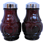 Wheaton Bullseye Ruby Red Salt Pepper Shakers Chrome Lids