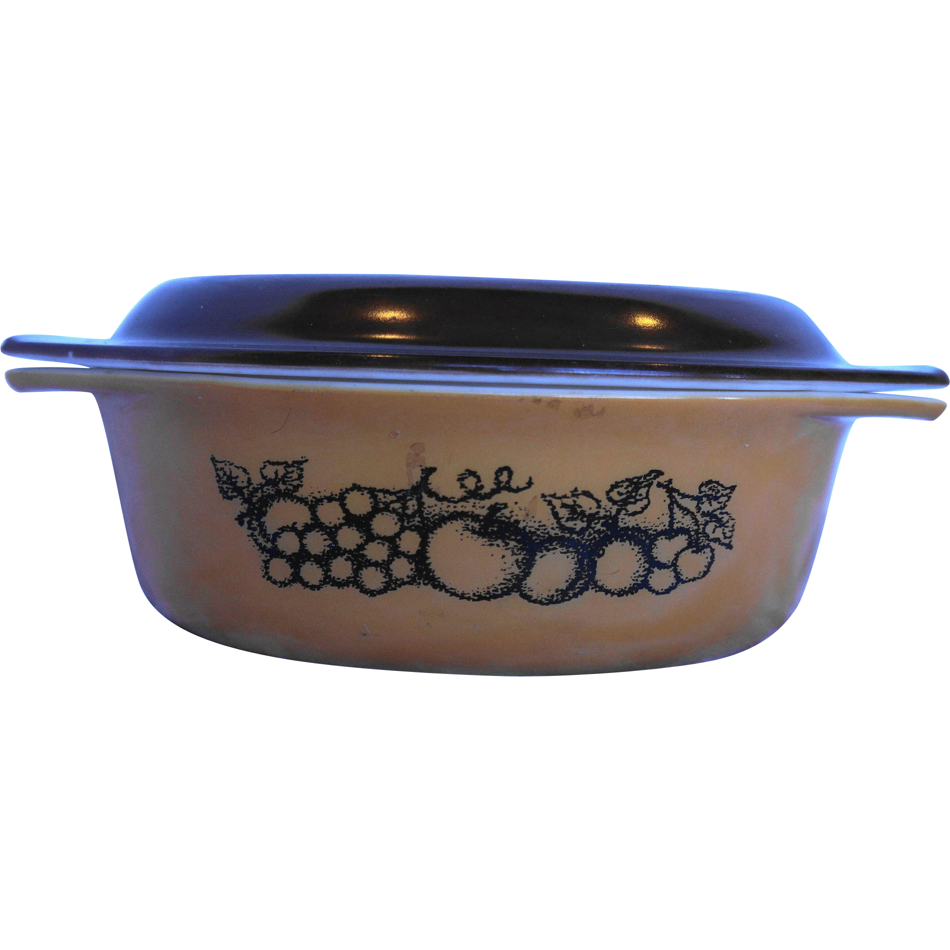 Pyrex Old Orchard Oval Casserole With Lid 1 1/2 Qt Brown Fruit
