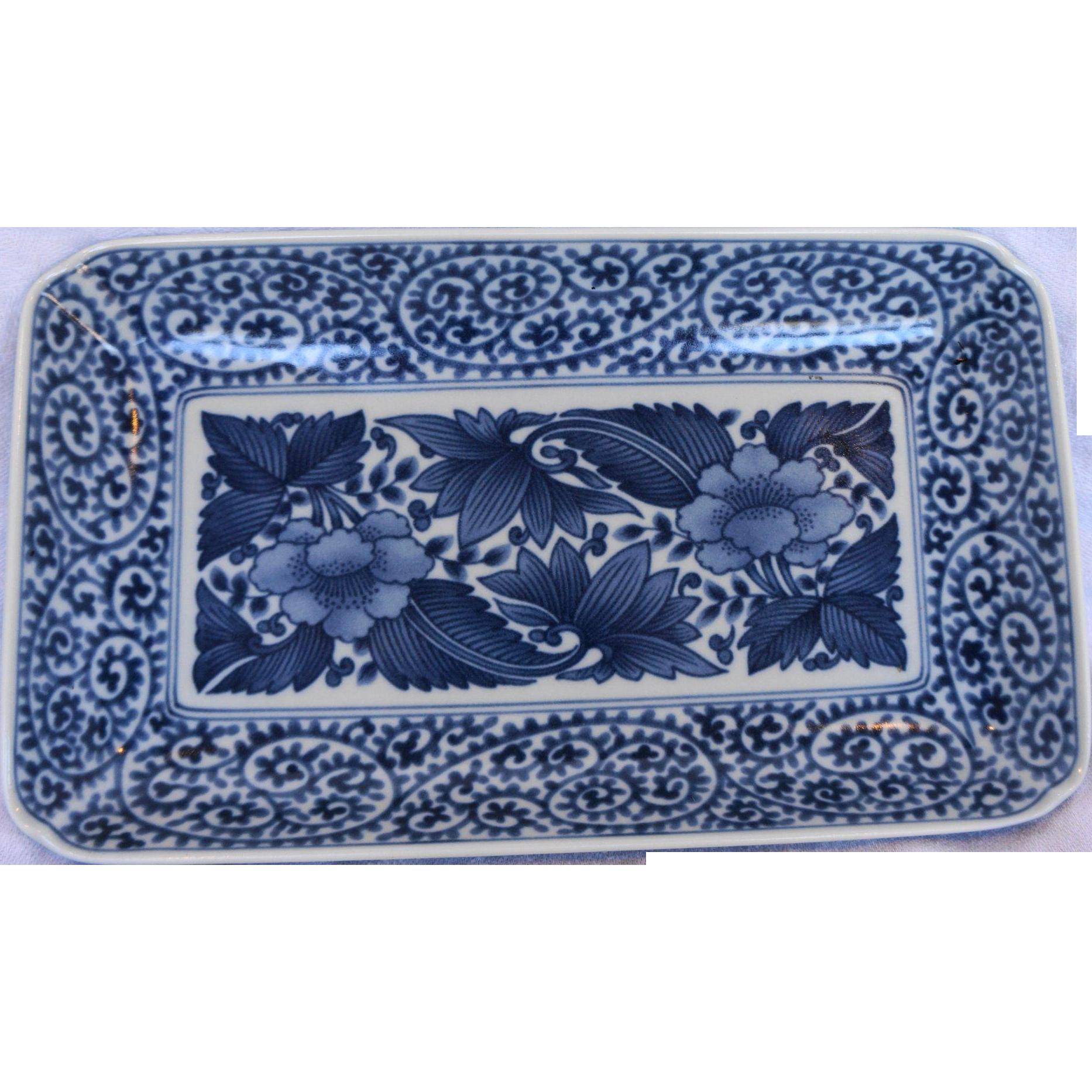 Ryu Ho Ryuho Mino Ware Japanese Porcelain Blue Hand Painted Floral Pin Dish Tray