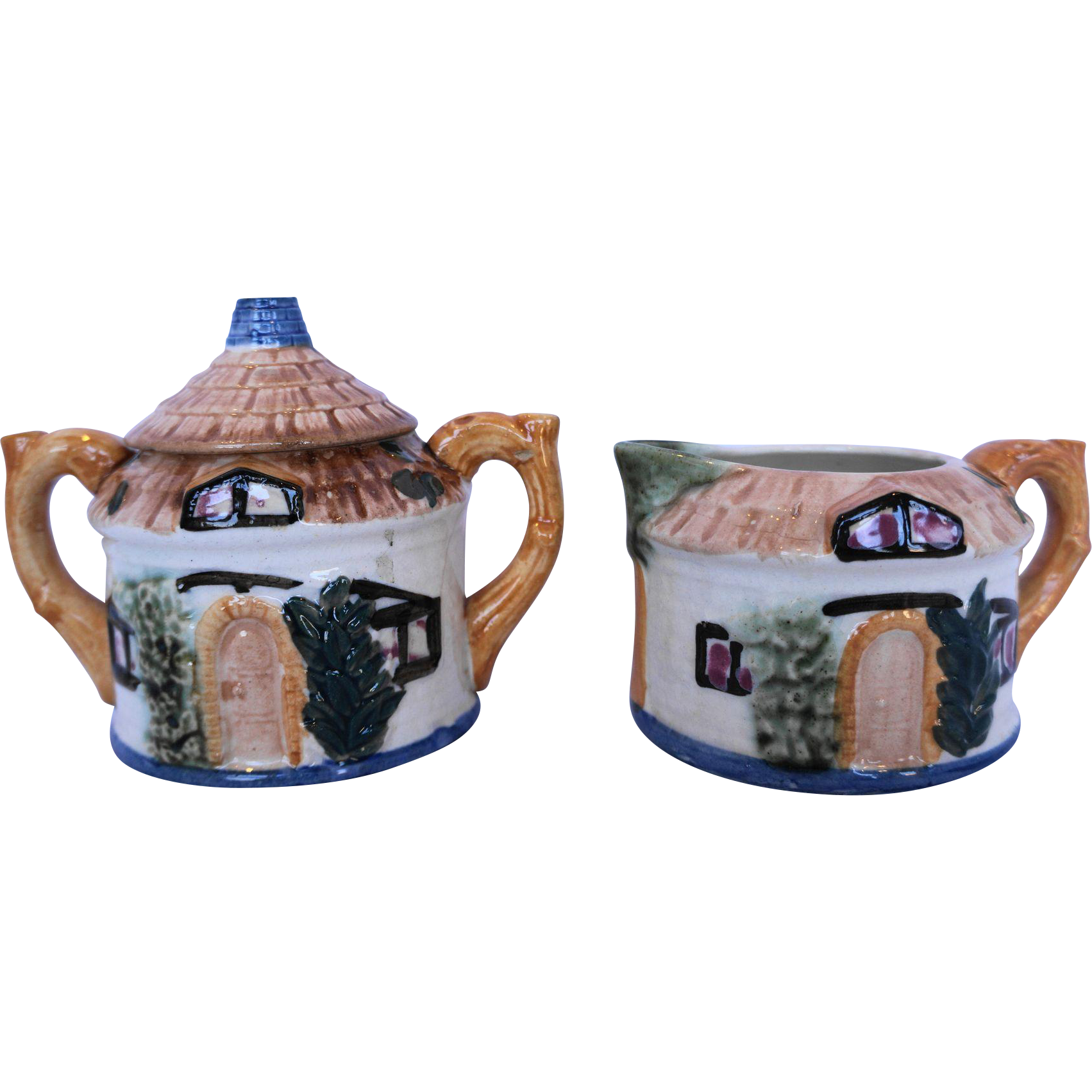 Occupied Japan Cottage Ware Cottageware House Cream Sugar Pair