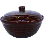 Marcrest Daisy Dot Brown Glazed 1.5 Qt Covered Dish